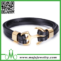 Wholesale Fashion Stainless Steel Gold Fish Hook Bracelet Anchor Jewelry Nautical Brown Leather Bracelet