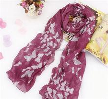 Wholesale New Fashion Women Cotton Scarves Neck Wrap Stole Neckerchief Butterfly Print Long Scarf