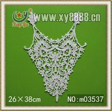 2012 New Arrival Fashion Cotton Embroidery Pattern V shape applique cotton fabric lace Collar Lace