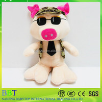 2015 latest model stuffed handsome pig with sunglasses and tie with big feet