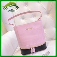 2015 New design fashion beautiful candy colors top PU bucket bag