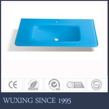 Hangzhou factory hot sale soft closing inner basin blue glass wash sink for stainless steel stand bathroom cabinet