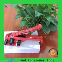 Packaging tool for container banding tensioner