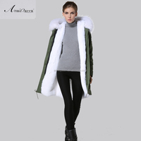 2015 Germany new coming winter military edition of thickening big white raccoon fur collar down jacket coat long sleeve coat