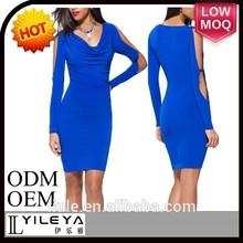 Moda de la venta caliente de manga larga azul marino mujeres vestido, vestido de la buena calidad