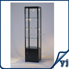 Glass showcase durable tempered glass display case with base cabinets