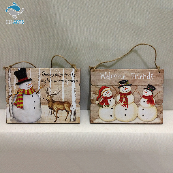 Factory Direct Supply Colorful Painted Snowman Christmas Theme Decorative Welcome Wooden Sign