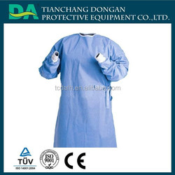 Hot sale green sterile disposable surgical gowns with knitted ribs