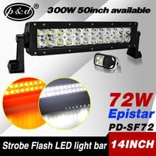 wholesale 14inch 72w strobe flash 4x4 amber led light bar for trucks