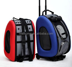 Pet dog backpack carrier luggage trolley dog cat rolling pet carrier with wheel pet travel bag WHPP060928
