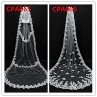 New Arrival Romantic High Quality Wholesale China Bride Women Long White Three Layer Lace Trim Wedding Accessories Bridal Veil