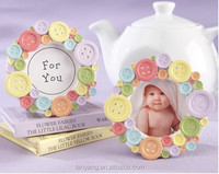Baby Shower Favors Cute as a Button round Baby photo frame