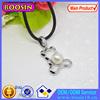 Alloy Hollow Bear Round Pearl Bead Pendant Necklace with Rope Chain #19678