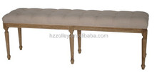 Oriental White Wood Carved Outdoor Material Bed End Stool