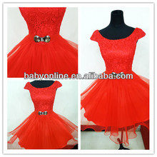2014 Homecoming Dresses Red A-Line Cap sleeves Short Summer Beach Backless Cocktail Dresses with Beads DSCN0044