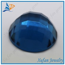 Synthetic checkerboard cut round glass stone