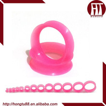 HT Bright Pink Ear Gauges Expander Kits Flexible Silicone Double Flared Plugs Tunnel In Body Jewelry