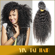 Alibaba Hot Selling, kinky curly 6A Remy Brazilian Virgin Human Hair Extensions Weave Weft 100g