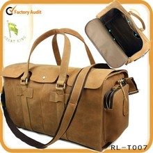 Big size solf genuine leather crazy horse leather travel bag
