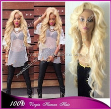 Best 6a quality 613# brazilian hair virgin blonde color real human hair front lace wig
