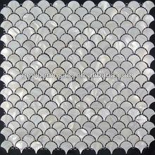 Pure white freshwater shell mosaic tiles, fish scale pattern mesh back