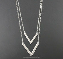 Double V Chevron Layered Double Chain ladies Necklace