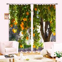 New arrival tasty 3d digital curtain with orange trees designs