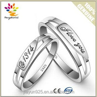A Pair Price Hot Sell Couple Rings Jewelry,Exquisite Engraved Letters 925 Sterling Silver 18K White Gold Plated Lovers Ring