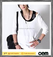 2016 unisex extended plain white tshirt ,blank long sleeve t shirt hip hop style