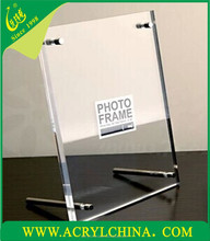 crystal acrylic beauty photo frame with screw, perspex certificate picture frame, PMMA frame hinged bolt
