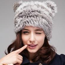 QC7106 natural chinchilla rabbit fur knitted imitate animal bear style hats beanie