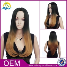 Mixed grey/black/blonde straight wig synthetic long 3/4 ombre wig