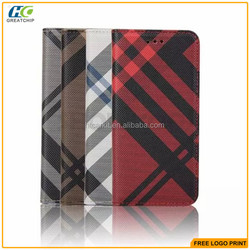 alibaba china grid pu leather flip wallet cell phone case for Iphone 6S