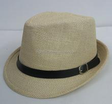 Mens black fine ramie straw fedora hat