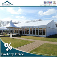 Fabric covered buildings solid glass wall exhibition tent