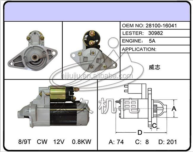 auto starter 12v starter motor for toyota