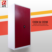 Wardrobe interior designt knock down 2 door red metal furniture with safe box