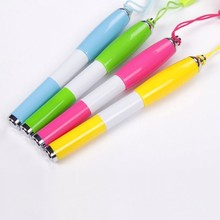 Promotional plastic ballpoint pen on a rope,short cheap ball pen made from china pen factory NN-161