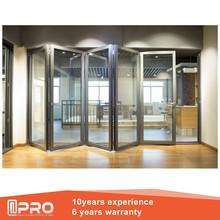 Puertas y ventanas de aluminio insonorizadas bi fold puerta plegable de puertas