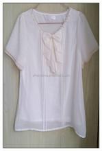 Bow chiffon T-shirt short sleeve girl's sweet T-shirt