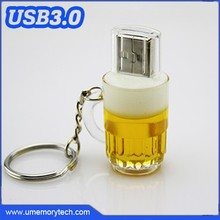 Plastic pen drive key chains bulk key ring pen drive beer shape usb flash drive key chain