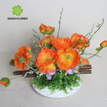 Artificial poppy flowers decoration silk poppy in pot wholesale
