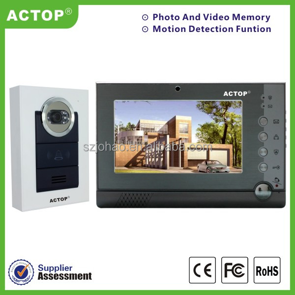 7 inch hands free color door bell home video intercom for Front door video intercom