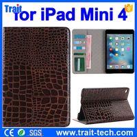 for iPad mini 4 Crocodile Pattern Wallet Style PC+ PU Leather Flip Case
