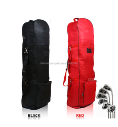 Nylon folding travel golf bag cover with wheels