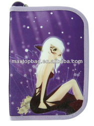 2-layer pencil case for girls, Satin fabric, with animation printing