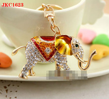 High quality fashion alloy custom keychain rhinestone originality lucky elephant keychain