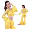 Elegant Belly Dance & yoga Costume, floral lace wrap Top & Pants for belly dance