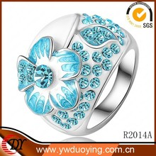 Genuine Austrian Silver Ring Design Unique Jewelry Fashion 18K Flower Ring