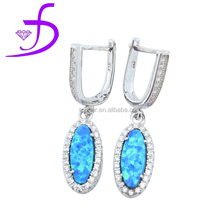 Wholesale 925 silver pave Diamond Opal Dangle Earring Jewelry Diamond Jewelry